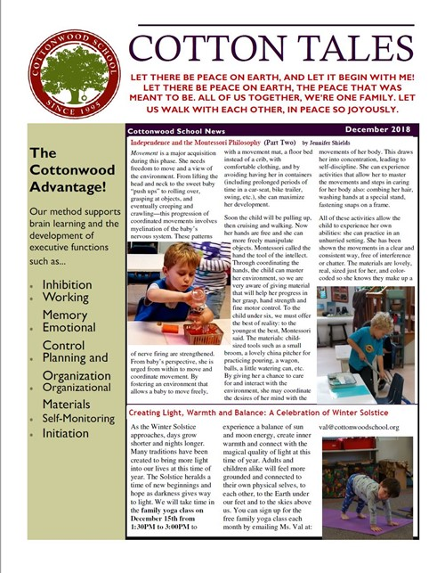 Cottonwood School December 2018 Newsletter