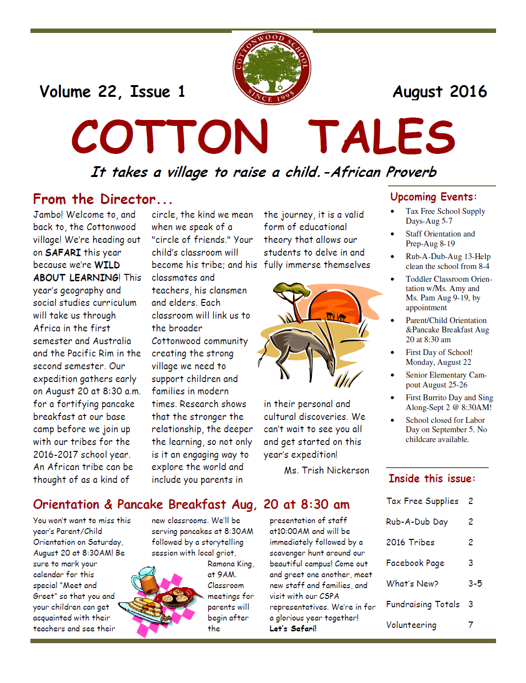 August 2016 Cotton Tales Newsletter