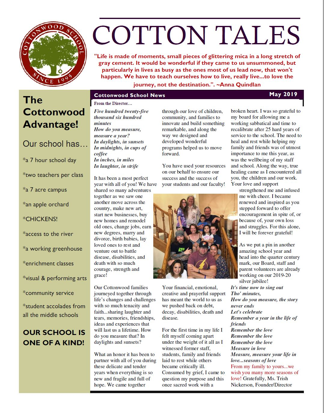 Cottonwood School May 2019 Newsletter