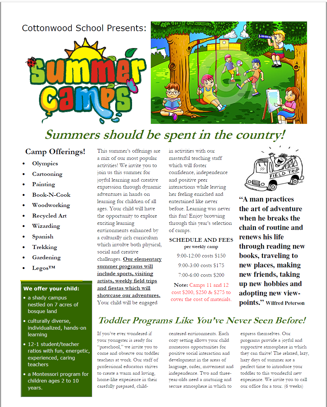 Summer Camp in the Country at Cottonwood School